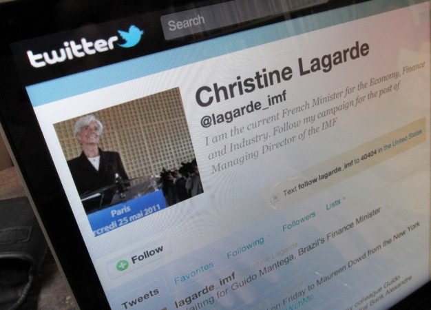 The twitter page of France's Finance and Economy Minister Lagarde is seen in this photo illustration on a computer screen in Paris