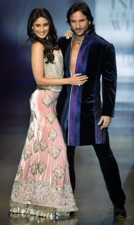 Bollywood actors Saif Ali Khan (R) and Kareena Kapoor