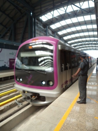 Metro rail service in Bangalore.