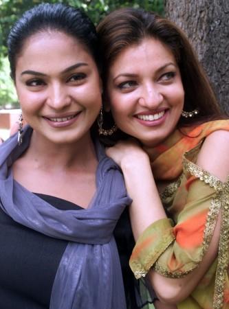 Veena Malik (L) with Sheeba Bhakri