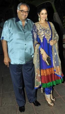 Bollywood actress Sridevi with husband Boney Kapoor at Retiesh Deshmukh and Genelia D'Souza's wedding in Mumbai, India.