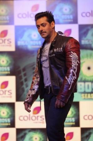 Bollywood actor Salman Khan smiles during a press conference in Mumbai, India