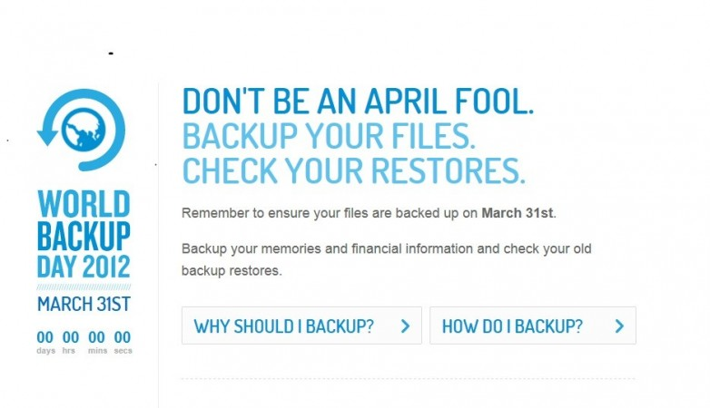 World Backup Day observed globally on the March 31.