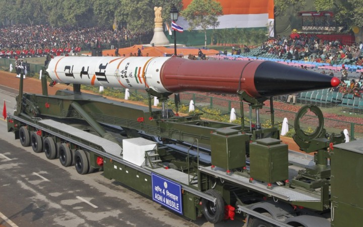 India's Agni 4 missile is seen during the full dress rehearsal for the Republic Day parade in New Delhi