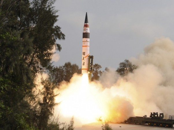 A surface-to-surface Agni V missile is launched from the Wheeler Island off the eastern Indian state of Orissa.