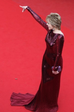 Actress Jane Fonda arrives on the red carpet for the screening of the animated film