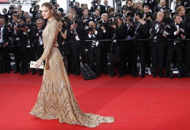 Model Barbara Palvin arrives on the red carpet for the screening of the film