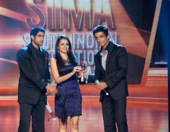 Rana Daggubati, Trisha Krishnan, Sonu Sood (Twitter/ Siima2012)