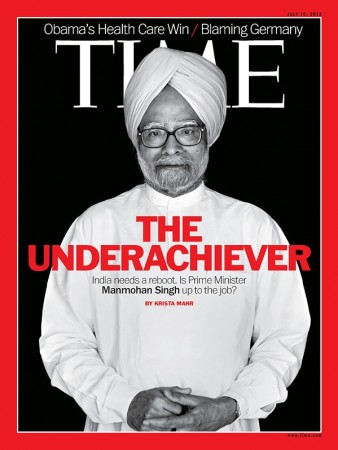 Time magazine cover photo of India's PM Manmohan Singh