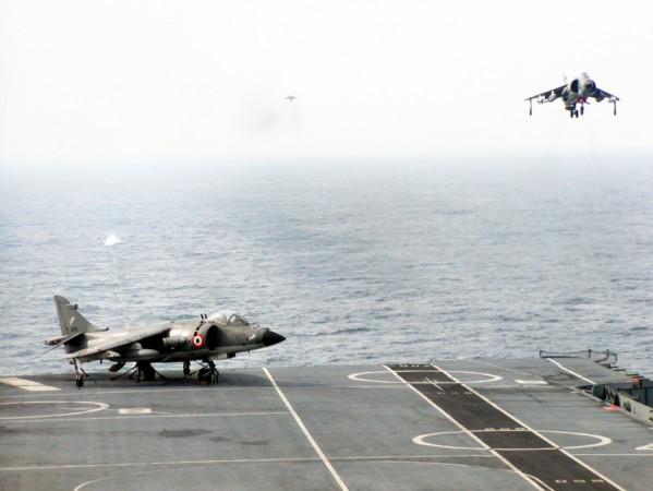 Sea Harrier landing in progress