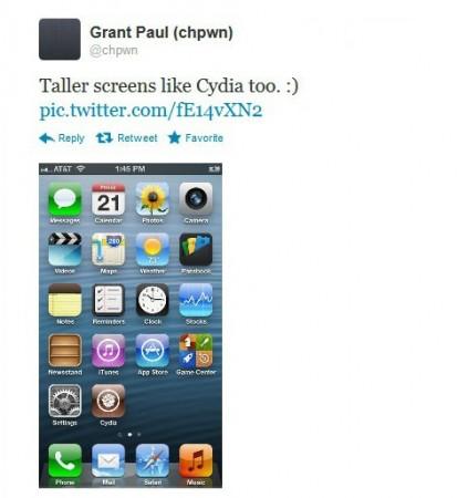 Screen shot of Grant Paul's tweets on iPhone 5 jailbreaks