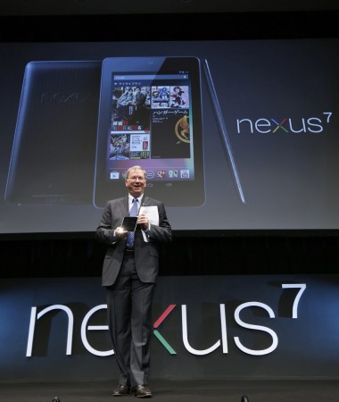 Google Executive Chairman Eric Schmidt poses with the Nexus 7 tablet at its promotional event in Tokyo