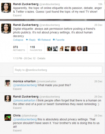 Screen Shot of Randi Zuckerberg's  Tweet