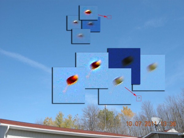 UFO Report: Magnified Strange Hovering Objects in Daytime Sky  (Wisonsin, U.S.)