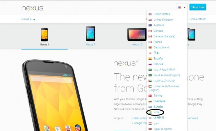 India Added to Google Nexus 4, 7 Pages; Launch Nearing?