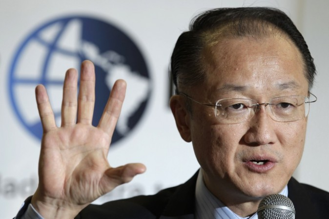 World Bank President Jim Yong Kim speaks during a news conference