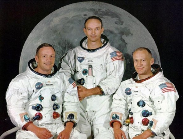 """Apollo 11 astronauts (L-R) Neil Armstrong, Michael Collins and Edward """"Buzz Aldrin pose in this undated file photo."""