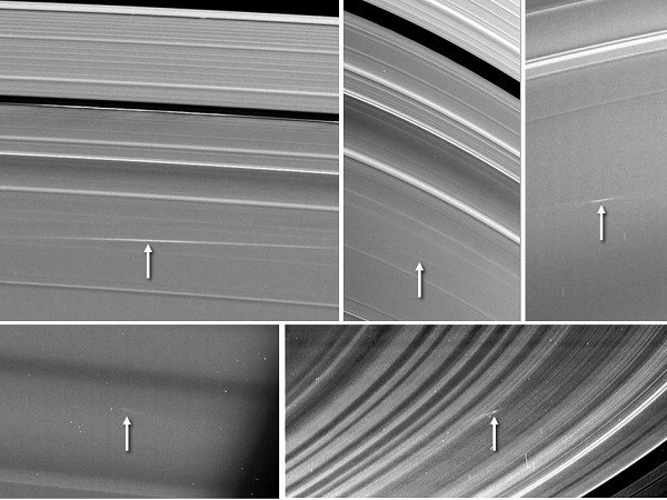Five images of Saturn's rings, taken by NASA's Cassini spacecraft between 2009 and 2012