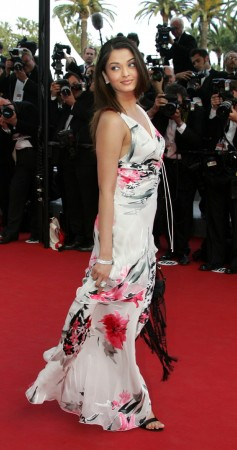 """Bollywood star Aishwarya Rai poses during red carpet arrivals for the out of competition screening of [U.S. director Woody Allen's] film """"Match Point"""" at the 58th Cannes Film Festival May 12, 2005. (Reuters)"""