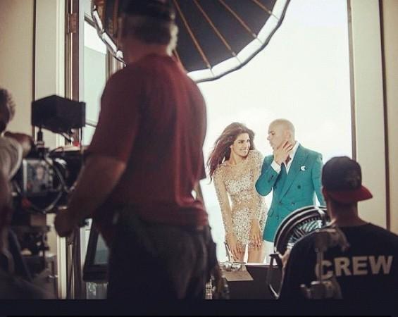 Priyanka Chopra and Pitbull filming the video of Exotic (Priyanka Chopra's Instagram)