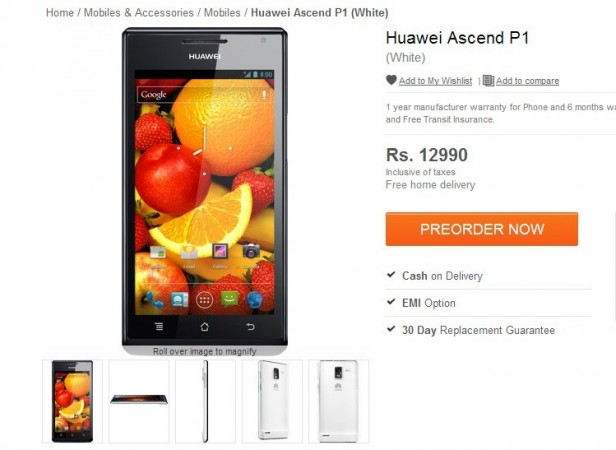 Huawei Ascend P1 Now Up For Pre-Order In India For ₹ 12,990