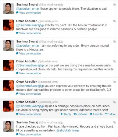 Sushma Swaraj-Omar Abdullah tweets