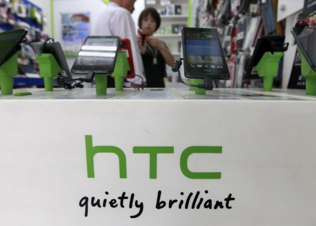 HTC smartphones displayed in a store
