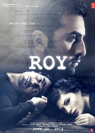 "Ranbir Kapoor In the ""Roy "" poster with Arjun Rampal and Jacqueline Fernandez"