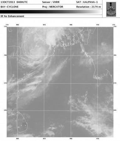Latest Satellite image of Cyclone Phailin