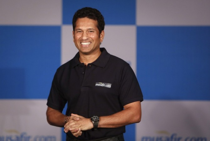 Indian cricket player Sachin Tendulkar speaks during a news conference in Mumbai