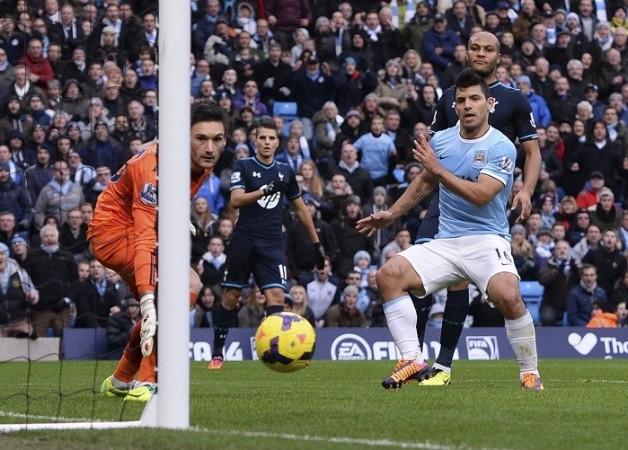 Sergio Aguero Manchester City Lloris Tottenham
