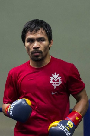 Filipino boxer Manny Pacquiao attends a training session at the Venetian Macao hotel in Macau