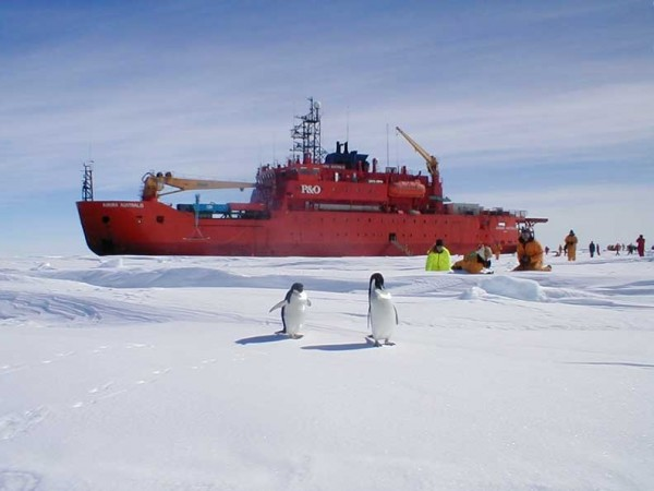 The Aurora Australis icebreaker pictured. It is on its way to rescue stranded research ship.