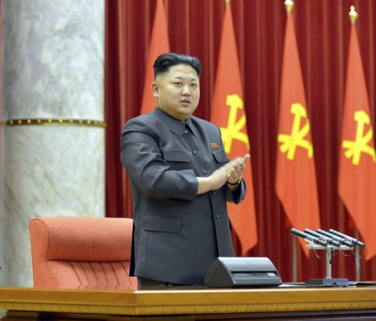 North Korean leader Kim Jong Un attends a ceremony of awarding party and state commendations to the exemplary officials, captains and fishermen in fisheries of the Korean People's Army (KPA) at the conference hall of the Central Committee of the Work