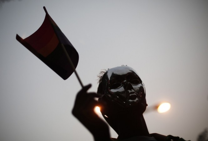 A gay rights activist holds a rainbow flag during a protest against a verdict by the Supreme Court in New Delhi December 15, 2013