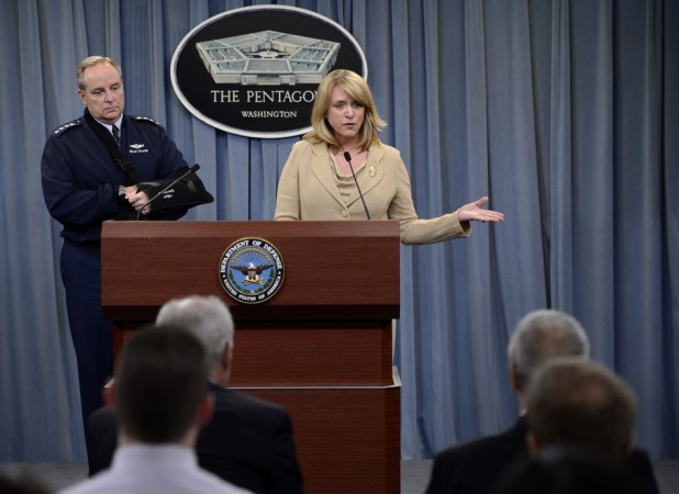 Secretary of the Air Force Deborah Lee James and Air Force Chief of Staff Gen. Mark A. Welsh III speak about an investigation involving missile launch officers during a press briefing Jan. 15, 2014, in the Pentagon, Washington D.C.