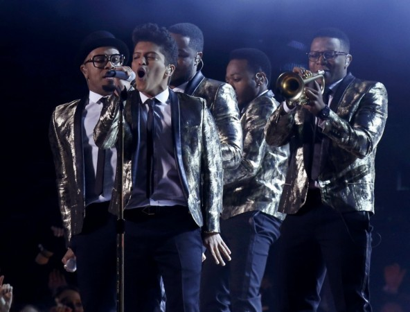 Bruno Mars at NFL Super Bowl/Reuters