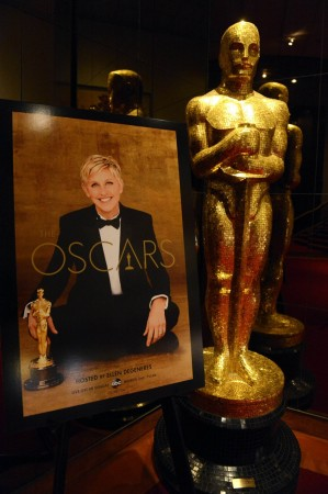 An Oscar statue is seen at the 86th Academy Awards nominee announcements in Beverly Hills, California