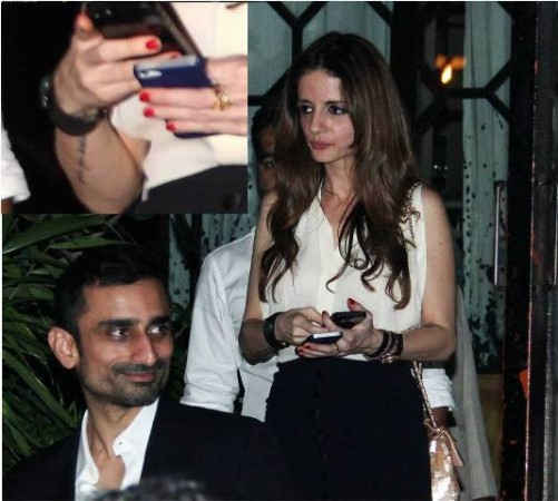 Sussanne Khan spotted with friend at Nido, inset: Sussanne's new tattoo