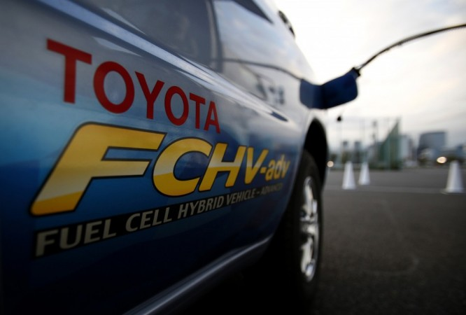 File photo of a hydrogen nozzle plugged into a Toyota Fuel Cell Hybrid Vehicle during the Toyota Advanced Technologies media briefing in Tokyo