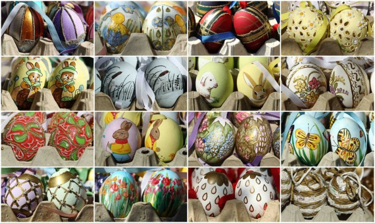 Easter 2014 quotes, sayings, prayers and blessings: A combination of photographs shows handmade Easter eggs at an Easter market in Vienna (Photo: Reuters)