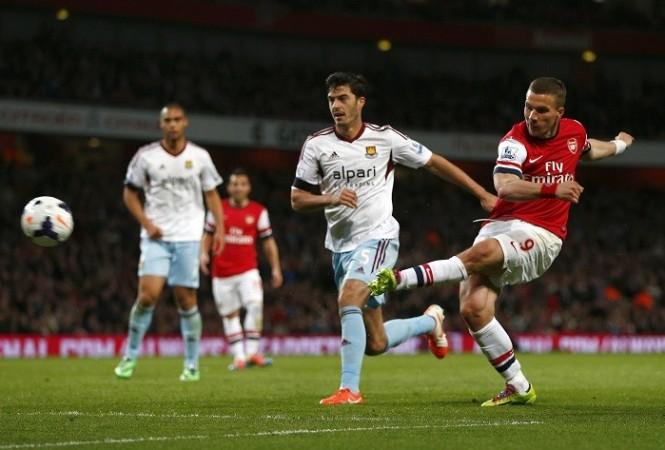 Podolski Arsenal Tomkins West Ham