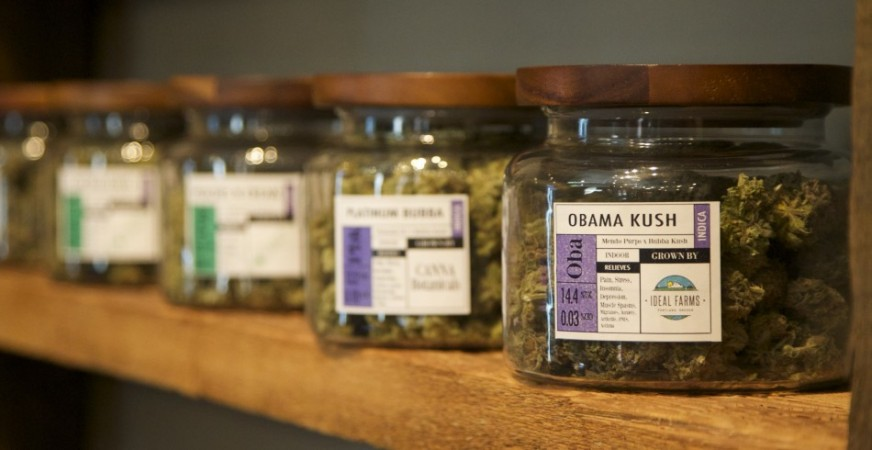 Marijuana-based products are displayed at the