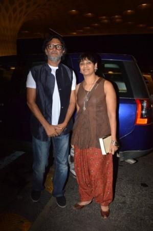 Rakyesh Omprakash Mehra seen here with wife P. S. Bharathi