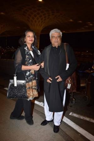 Actress Shabana Azmi poses with lyricist husband Javed Akhtar at the airport