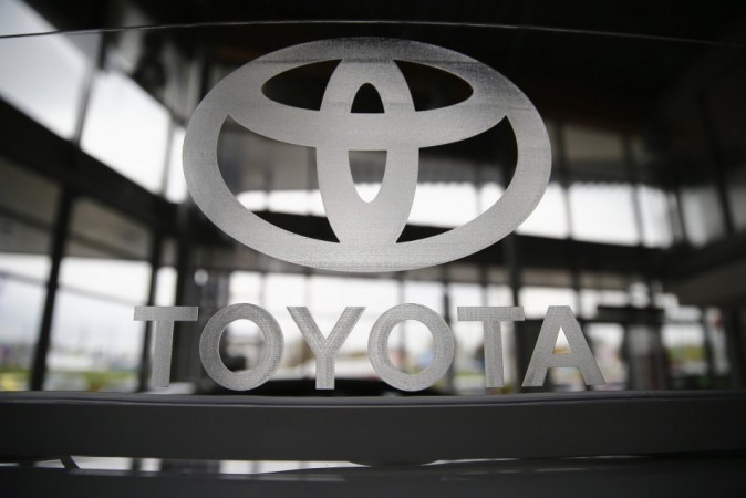 File photo of a Toyota logo in a showroom at a Toyota dealership in Warsaw