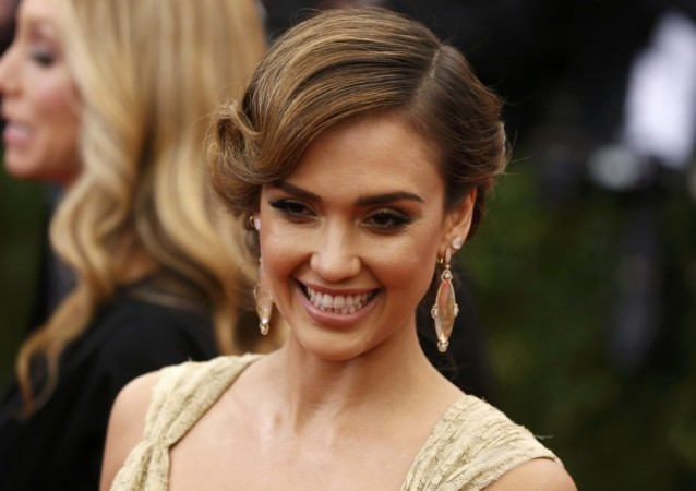 """Actress Jessica Alba arrives at the Metropolitan Museum of Art Costume Institute Gala Benefit celebrating the opening of """"Charles James: Beyond Fashion"""" in New York"""