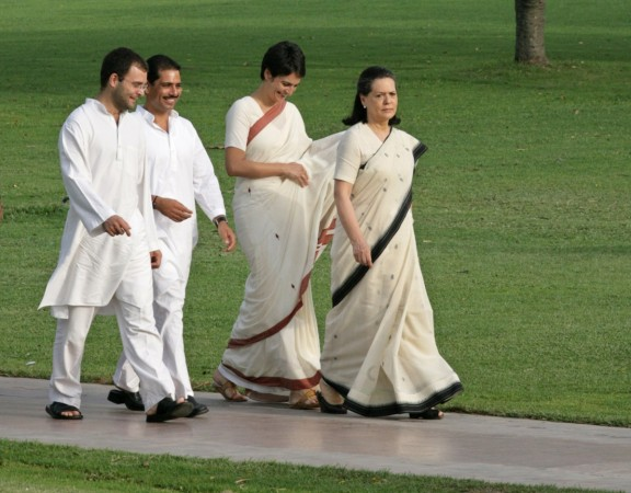File photo of Sonia Gandhi, her daughter Priyanka, son-in-law Robert and son Rahul walking in New Delhi