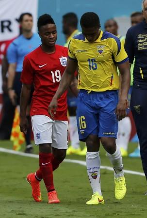 Raheem Sterling and Antonio Valencia