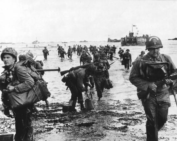 Handout photo of U.S. reinforcements landing on Omaha beach during the Normandy D-Day landings near Vierville sur Mer